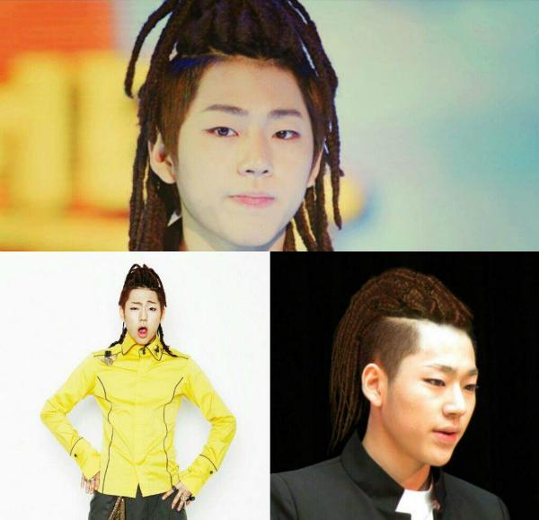 Zico (Block B) nổi tiếng là ông trùm của những kiểu tóc rườm rà khiến người xem phải phụt cười.