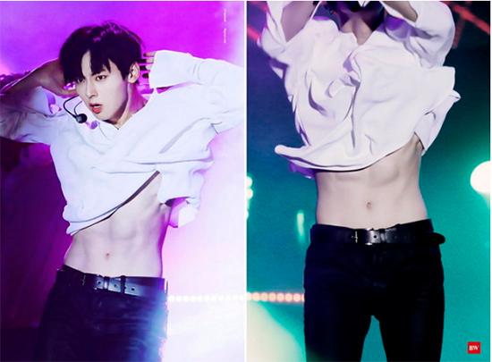 Trong một màn trình diễn, áo của Hwang Min Hyun vô tình bị vén cao, làm lộ ra vòng bụng cực săn chắc. Thành viên Wanna One vốn là người kín đáo, ít khi chịu khoe da thịt nên nhiều người bị bất ngờ bởi vẻ sexy của nam ca sĩ.