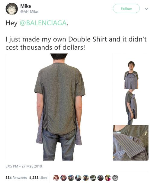 Người dùng chế áo kiểuBalenciaga.