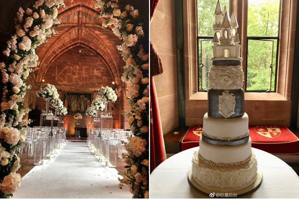Không gian nơi diễn ra hôn lễ và chiếc bánh cưới 6 tầng đều có tên của hai chú rể. Theo chia sẻ của các khách mời, cặp đôi đã không kìm được nước mắt khi trao lời thề.