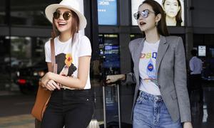 Minh Hằng lấy lại phong độ mặc đẹp khi đọ style sân bay với Thanh Hằng