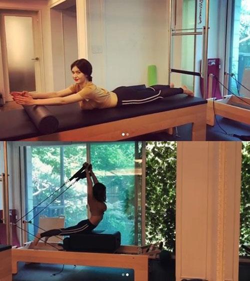 Somi khoe đường cong khi tập luyện.