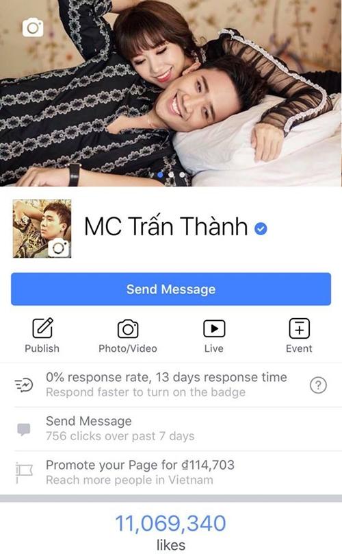 Facebook Trấn Thành đạt hơn 11 triệu like.
