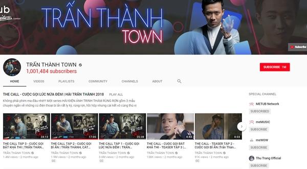 Kênh YouTube của Trấn Thành có hơn 1 triệu theo dõi và hơn 224 triệu lượt xem.