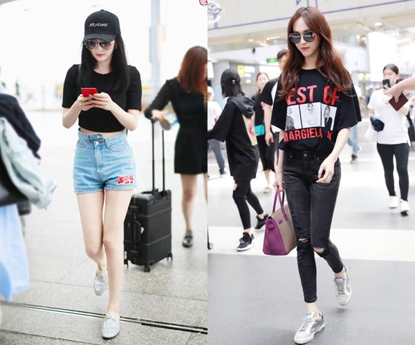 Dương Mịch (trái) và Đường Yên luôn xuất hiện ở sân bay với set đồ hàng hiệu, khoe style chất.