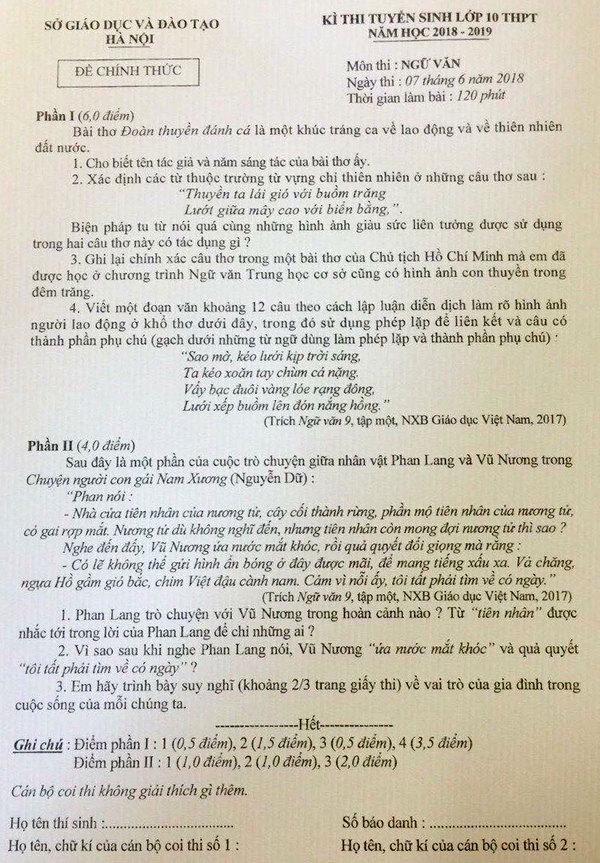 Đề thi chính thức môn Ngữ Văn kì thi tuyển sinh vào lớp 10 tại Hà Nội.