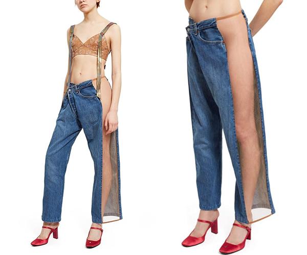 Để đáp ứng nhu cầu của các tín đồ thời trang, quần jeans ngày càng được sản xuất đa dạng kiểu dáng. Những kiểu quần cơ bản dường như dần trở nên nhàm chán nên các hãng thời trang chạy đua trong việc tung ra những mẫu quần jeans độc đáo có một không hai. Thiết kế đắp xuyên thấu hở hết một hông của hãng Opening Ceremony với mức giá 236 USD là một ví dụ.