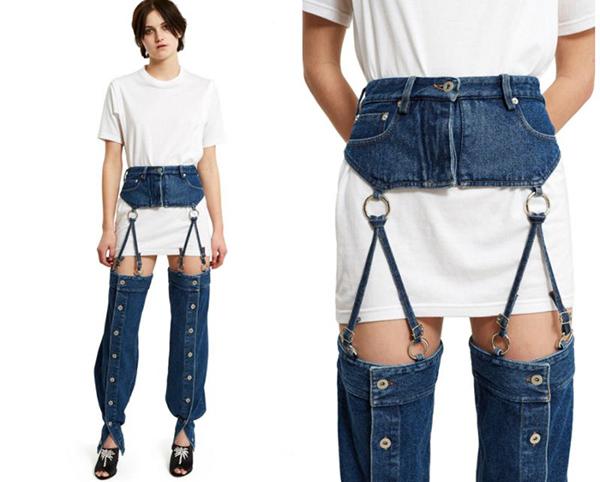 Y/Project cókiểu quần khó hiểu mang tên Garter strap. Item này được chia làm 2 phần tách biệt, có dây móc để nối cạp với ống quần, trông như đang mặc thắt lưng với boots, bắt buộc bạn phải kết hợp cùng áo phông dáng dài phía trong.
