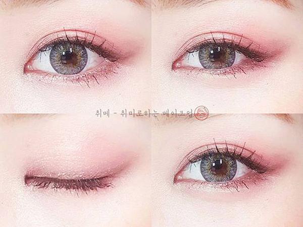 Nhũ hồng nhạt được phủ đều lên bầu mắt. Sau đó bạn dùng nhũ hồng đậm hơn để tán lên đuôi mắt và mí mắt trên dưới. Đừng quên một chút nhũ sáng lấp lánh ở khóe mắt để đôi mắt càng thêm to tròn, ngây thơ.