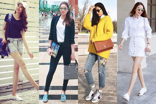 Có chiều cao chuẩn mực nên khi ra phố, Phạm Hương hầu như chỉ trung thành với giày bệt hoặc sneakers. Cô cũng là một tín đồ phòng gym nên sở hữu rất nhiều giày thể thao.