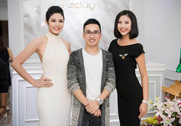 Hà Duy (giữa) cùng Hoa hậu Ngọc Hân và Top 5 HHVN 2016 Đào Hà.