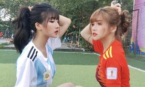 Hai hot girl cổ vũ World Cup lại bị 'truy link' vì xinh đẹp