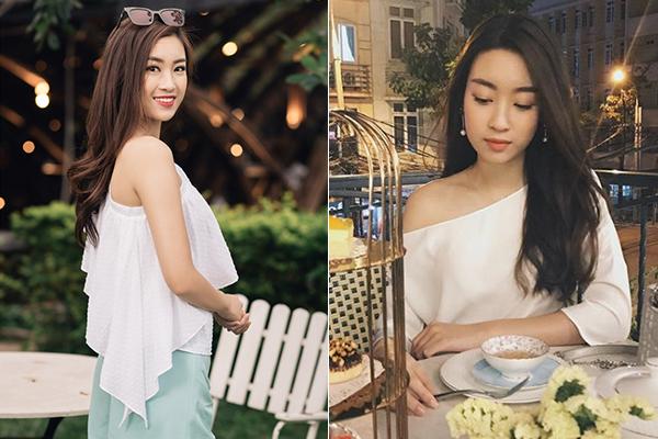 Thời trang đời thường của Mỹ Linh cũng có sự xuất hiện thường xuyên của item khoe vai tinh tế.