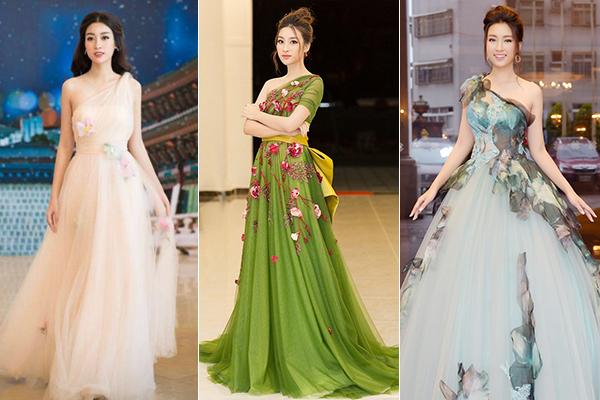 Bộ sưu tập váy lệch vai của người đẹp lên tới hàng chục chiếc. Khi tham gia những buổi tiệc sang trọng, cô thường chọn váy bồng bềnh dài chấm đất, chất liệu tung bay để trông xinh đẹp như công chúa.