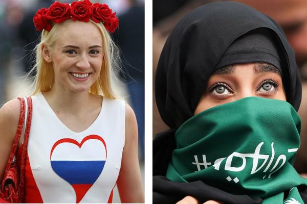 Sự tương phản trong trang phục thể hiện rõ sự khác biệt giữa hai nền văn hóa.