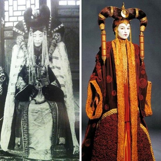 Bạn có biết rằng trang phục của các cô gái quý tộc Mông Cổ là nguyên mẫu cho hình ảnh trang phục của Nữ hoàng Amidala trong phim Star Wars không?