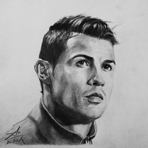 Một bức truyền thần khác về chân dung Ronaldo doAnh An vẽ.