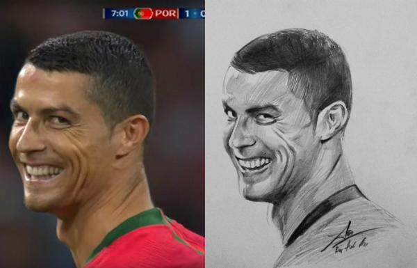 Khoảnh khắc của Ronaldo được chia sẻ khắp mạng xã hội và bức ảnh truyền thần của Anh An.