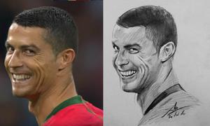 'Nụ cười gian' Ronaldo qua nét vẽ của chàng trai 9x