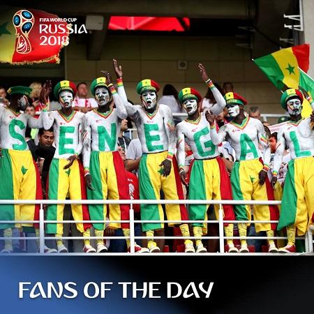 Trong ngàythi đấu thứ 6 hôm19/06, nhóm CĐV của Senegal được chú ý trên khán đài khi có màn cổ động xếp chữđộc đáo. Sự khích lệ tinh thần từ cổ động viên là cú hích giúpSenegal bất ngờ giành chiến thắng trước Ba Lan với tỉ số 2-1.Sau 16 năm, Senegal với trở lại World Cup và đã giành chiến thắng thứ 2 trong trận ra quân World Cup. CĐV Senegal còn được khen ngợi bởi hành động đẹp khiđã ở lại sau trận đấu và dọn dẹp rác trên sân Spartak (Moskva).