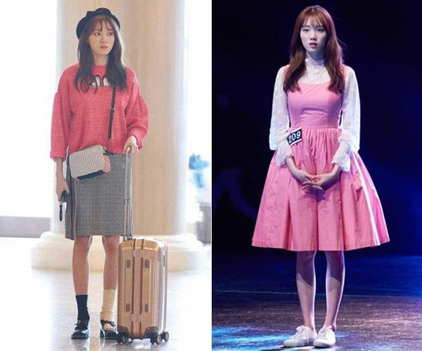 Thời trang trong phim của Lee Sung Kyung phủ đầy gam hồng với những kiểu váy áo xinh xắn, dáng suông rộng thoải mái, kết hợp phụ kiện tinh tế giúp cô trông trẻ trung hơn rất nhiều so với tuổi thật.