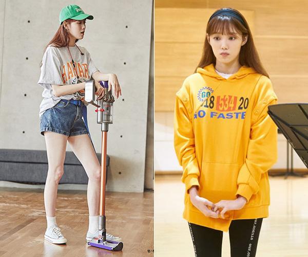 Trang phục thể thao năng động được Lee Sung Kyung diện thường xuyên để ăn gian tuổi tác. Nhìn cô trông chẳng khác gì một nữ sinh viên thay vì quý cô gần chạm mốc 30.
