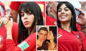 Bạn gái Ronaldo nổi bật, khoe khéo nhẫn kim cương trên khán đài