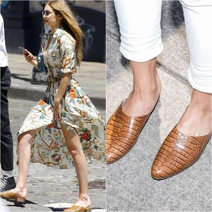 <p> Thoạt nhìn, đôi mules da cá sấu hiệu Freda Salvador của Gigi trông rất đắt đỏ. Tuy nhiên thực chất đôi giày bệt này đang được sale với giá chỉ 130 USD (giá gốc 330 USD).</p>