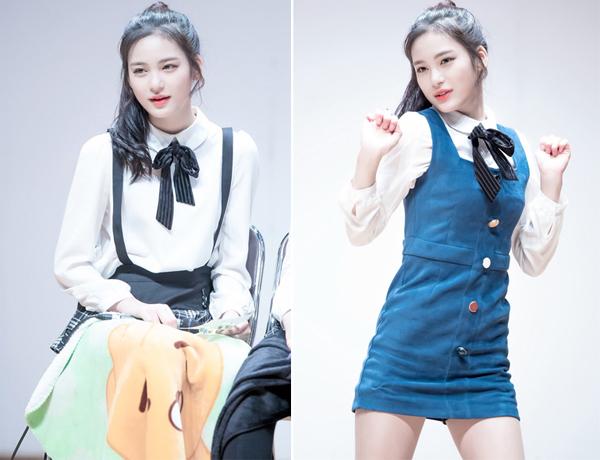 Nhờ có gương mặt xinh như búp bê sứ, idol sinh năm 2003 thường được công ty quản lí ưu ái cho mặc những trang phục mang đậm khí chất sang chảnh như váy yếm đi kèm áo sơ mi buộc nơ, khiến cô nàng chẳng khác nào một cô tiểu thư điệu đà.