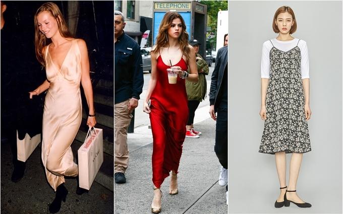 <p> Slip dress là một kiểu váy hai dây mỏng manh mang hơi hướng váy ngủ được làm từ những chất liệu như lụa chiffon, satin… Đây là trào lưu nổi tiếng những năm 90 và sau 2 thập kỷ nó vẫn rất được chị em ưa chuộng. Thay vì đơn sắc như những thiết kế truyền thống, váy slip dress ngày nay có những thiết kế cầu kì, màu sắc và chất liệu cũng đa dạng hơn, tiêu biểu như những chiếc váy slip dress vải nhung, dạ hay thậm chí cả len mỏng…</p>