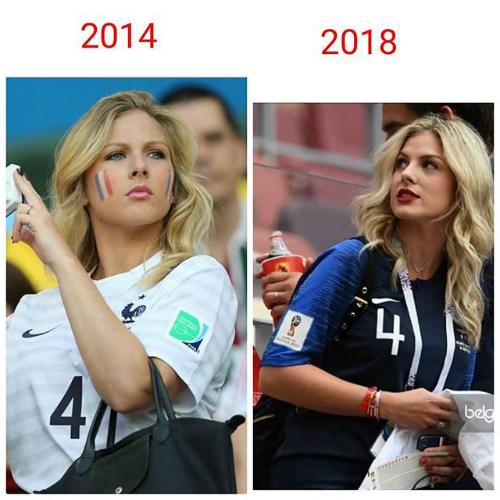 Vẫn giản dị như 4 năm trước xuất hiện tại Brazil để cổ vũ bạn trai thi đấu, Camille hầu như không già đi, thậm chí cô còn xinh đẹp mặn mà hơn với cương vị người vợ có chồng đang thi đấu.