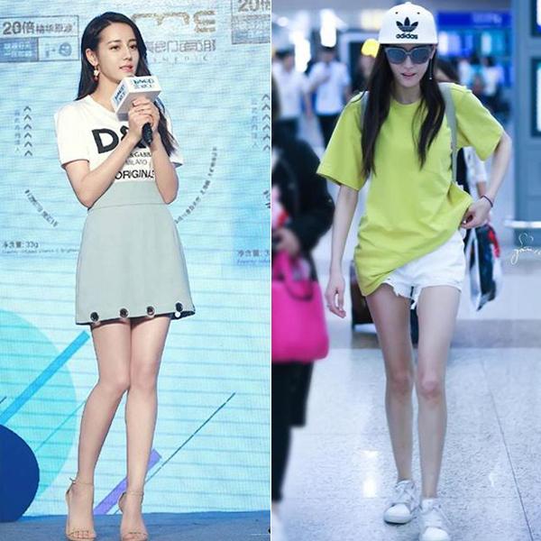 Trong ảnh sự kiện hay ảnh sân bay, Địch Lệ Nhiệt Ba luôn gây trầm trồ vì chân rất dài và thẳng. Mỹ nhân Liệt Hỏa Như Ca chăm khoe ưu điểm cơ thể bằng những chiếc váy ngắn, quần shorts mát mẻ.