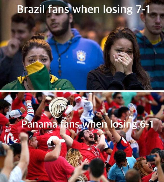 <p> Phản ứng của CĐV Brazil khi thua 7-1 trái ngược hẳn với người hâm mộ Panama khi đội nhà thua 1-6. Chưa bao giờ bị thua mà vẫn vui đến thế. Panama đã có được bàn thắng đầu tiên trong mùa giải World Cup đầu tiên, và họ thua ít trái hơn Brazil.</p>