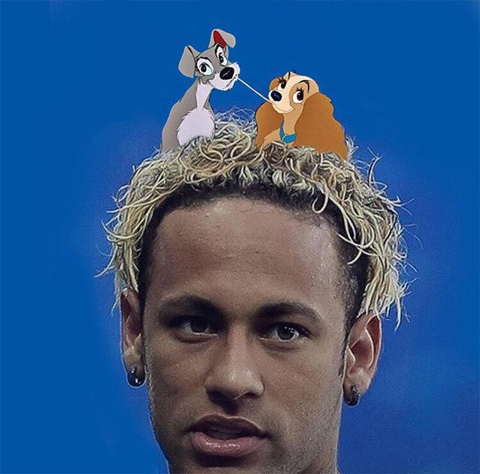 <p> Vẫn là mái tóc bị chế nhạo từ đầu đến gần cuối mùa giải của Neymar.</p>