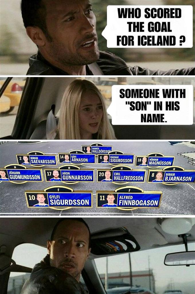 """<p> Khi con gái xem bóng đá:<br /> - Ai là người ghi bàn cho Iceland thế?<br /> - Một người nào đó trong tên có chữ """"son""""?<br /> *cạn lời*</p>"""