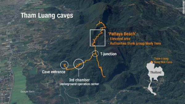 Vị trí của hang động Tham Luang. Ảnh: CNN.