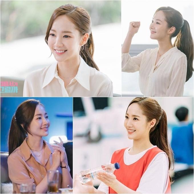 <p> Nhắc đến nhân vật thư ký Kim trong <em>What's Wrong With Secretary Kim </em>(tvN), khán giả sẽ nhớ đến ngay hình ảnh Park Min Young thanh lịch đúng chất công sở với kiểu tóc đuôi ngựa gọn gàng với phần mái rủ xuống vô cùng duyên dáng. Trông đơn giản nhưng để đẹp được như Park Min Young cũng khá kỳ công với nhiều mẹo như sấy chân tóc, đánh rối tóc, dùng kẹp càng cua để làm phồng tóc…</p>