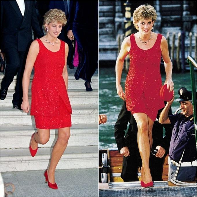 <p> Sau khi bắt đầu cuộc ly hôn với Thái tử Charles, trong hai năm cuối đời Công nương đã bước ra khỏi những quy định nghiêm ngặt của hoàng gia để diện những bộ cánh trẻ trung, tự tin hơn. Trong chuyến du lịch tới Venice năm 1995, Công nương mặc một bộ đầm ngắn màu đỏ thay lời cho tuyên ngôn về sự tự do và độc lập.</p>
