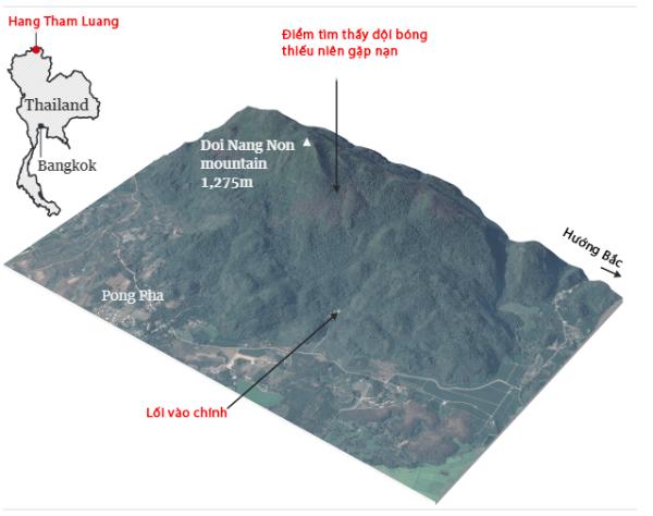 Vị trí khu vực hang Tham Luang. Đồ họa: Guardian - Việt hóa: Anh Tú.