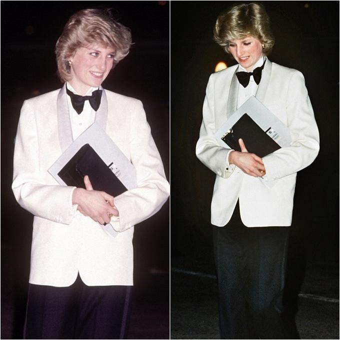 <p> Công nương Diana là thành viên đầu tiên của hoàng gia dám phá lệ mặc quần tây trong các sự kiện buổi tối khi xuất hiện vào ngày 29/2/1984 tại Trung tâm Triển lãm Quốc gia ở Birmingham. Chiếc áo vest cùng nơ đen và quần tây cá tính của bà đã trở thành hình ảnh đại diện của nữ quyền thời bấy giờ.</p>