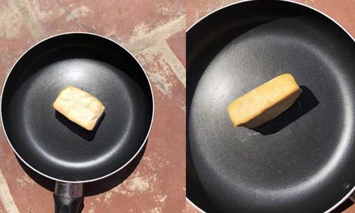 [Món đậu phụ một nắng có một không hai được một bạn chia sẻ trên diễn đàn mạng. Với cách thức chỉ cần để miếng đậu ra giữa trời nắng, thỉnh thoảng lại chạy ra lật mặt, kết quả là có một miếng đậu rán vàng ươm mà không cần đến dầu mỡ.