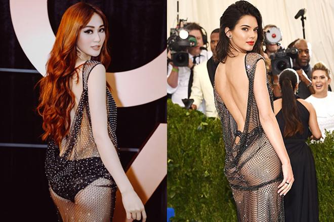 <p> Khánh My sexy, đốt mắt khán giả với thiết kế xuyên thấu, để lộ những khoảng hở táo bạo. Thế nhưng thiết kế đính 5000 viên pha lê của NTK Kim Khanh bị xem là có quá nhiều điểm tương đồng với trang phục mà Kendall Jenner diện trên thảm đỏ Met Gala hồi tháng 5 năm ngoái.</p>