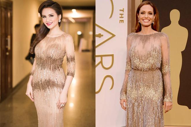 <p> Thiết kế đầm ôm đính sequin của Diễm Hương khiến nhiều người liên tưởng đến bộ cánh mà Angeline Jolie diện tại thảm đỏ Oscar của nhà mốt Elie Saab.</p>