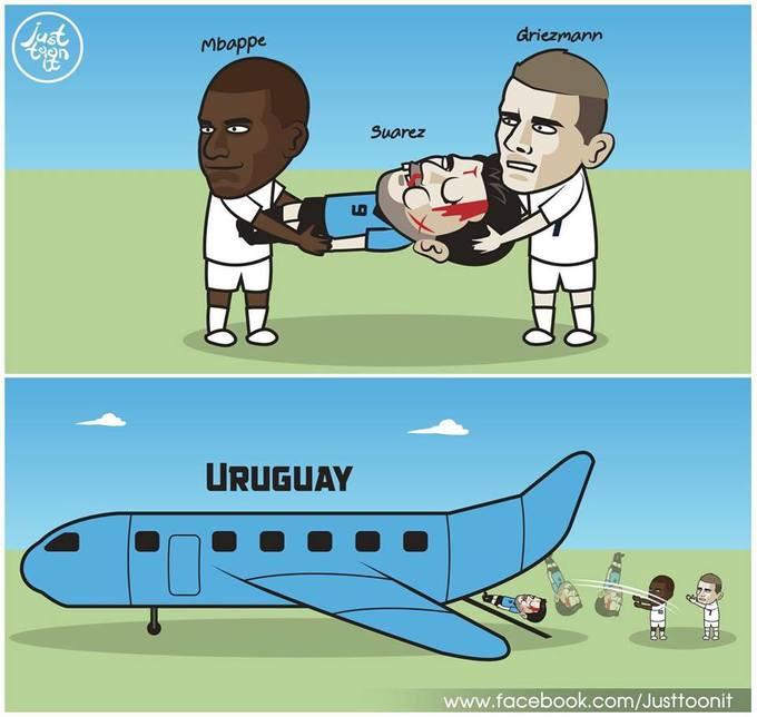 """<p> Trận thư hùng diễn ra vào 21h ngày 6/7 (giờ Hà Nội) kết thúc với phần thắng nghiêng về Les Bleus, điều đó đồng nghĩa với việc Uruguay sẽ theo chân Đức, Bồ Đào Nha, Argentina """"xách va li về nước"""".</p>"""