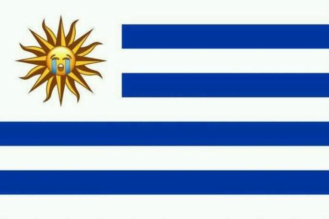 <p> Mặt trời trên Quốc kỳ Uruguay đã khóc.</p>