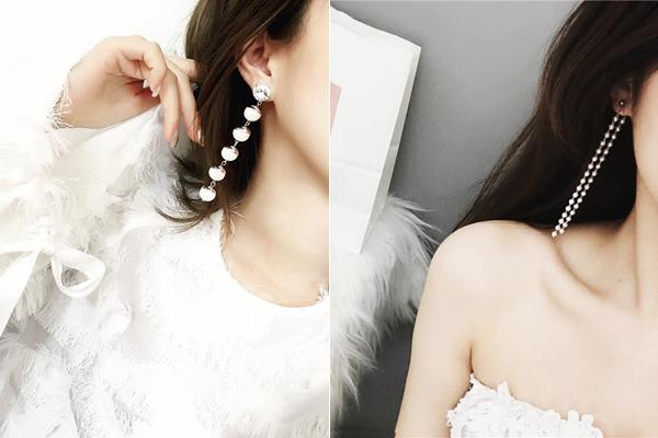 Hoa tai dạng chuỗi thường có thiết kế đá đính tròn, màu sắc bắt mắt như trắng, ánh kim, tỏa sáng lung linh dưới ánh đèn và đảm bảo nổi bật trong mái tóc.