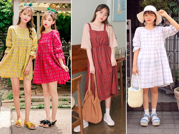 Nếu thích những màu sắc rực rỡ hơn cho mùa hè thì con gãi cũng nên thử ngaynhững mẫu váy họa tiết plaid trên vải tông đỏ, vàng, hồng để thêm nét tươi tắn, đáng yêu cho bản thân.