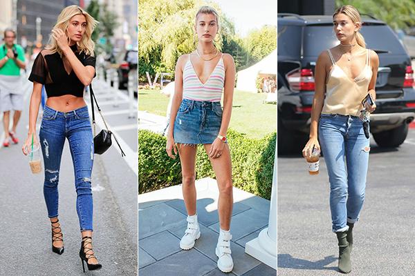 Không thua kém những cô mẫu cùng thời như Kendall Jenner, Gigi Hadid, ở đời thường, Hailey Baldwin cũng có phong cách ăn mặc đơn giản nhưng vẫn nổi bật, mang đậm cảm hứng thời trang khỏe khoắn những năm 90.