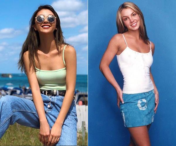 Áo thun hai dây với phần quai mảnh như sợi mì (spaghetti straps) tuy trông đơn giản nhưng lại giúp bạn có diện mạo đậm cảm hứng năm 2000 rất rõ nét. Đây đồng thời cũng là kiểu đồ yêu thích của Britney Spears cả bản gốc và bản Việt.