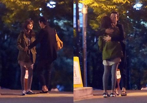 Cặp đôi ôm ấp không nỡ rời xa sau buổi hẹn. Hình ảnh này khiến fan ôm tim vì lãng mạn như phim tình cảm.